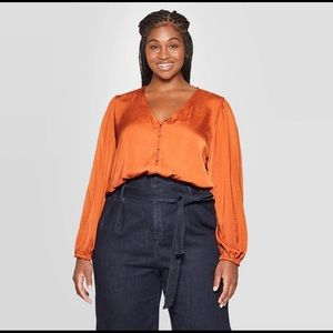 Plus Size Sexy Relaxed Fit Button Blouse